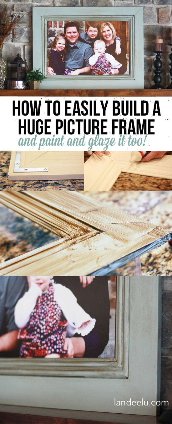 How to Build A Huge Picture Frame using Moulding!  Easy and so much cheaper than buying a frame this size!  |  landeelu.com