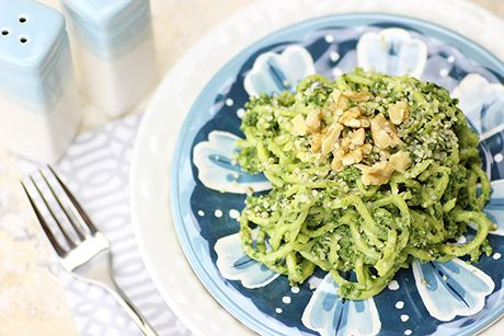 Zucchini Noodles with Spinach Pesto - This easy vegan spinach pesto recipe is perfect if fresh basil is out of season, above your budget or difficult to find.