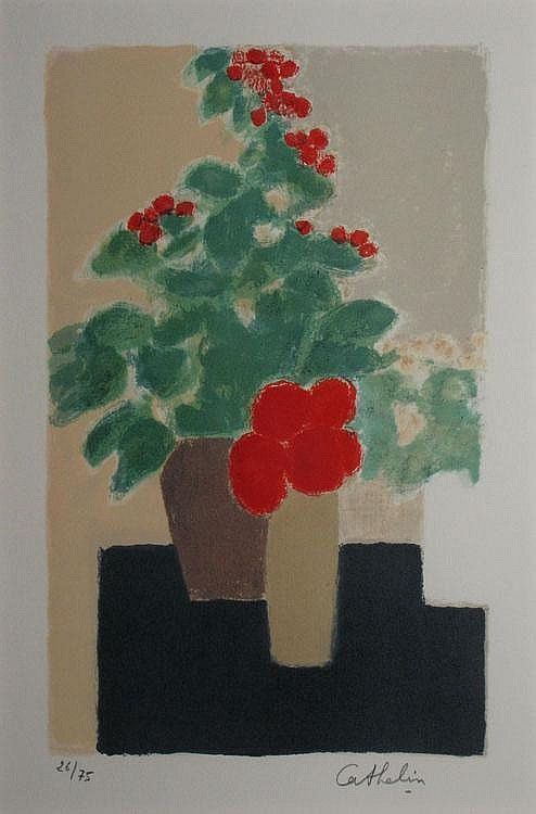 Red Flowers, still life, lithography in colour, numbered and signed | 33 x 21.5 cm