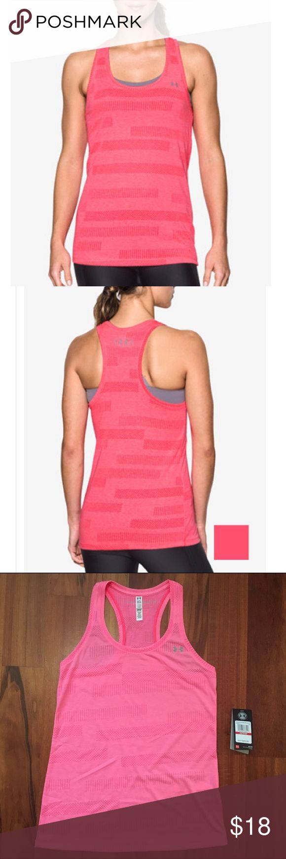 NWOT Under Armour Threadborne Tank in Pink XS NWOT! I brought this Tank home and popped off the tags before deciding that I just have too many tops in this color. This is a super lightweight jacquard racerback tank from Under Armour.  Loose, airy fabric and style. I am usually a small and this is still nice and loose on me. Color is Pink Shock. Polyester. Under Armour Tops Tank Tops