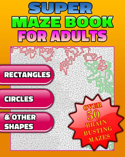 If you are looking for #adult #maze #puzzles, then this is the puzzle book that will challenge your brain.   This book was designed with brain exercise in mind. It is a no frills maze puzzle book with different #maze #shapes that increase in difficulty per section. Each section includes 5 to 10 shapes.   The different shapes are the following: #Rectangles, #circles, #crosses, #smiles, #crescents, fishes, Jack-o'-lanterns, peace symbols, hearts and #shamrocks. Enjoy this maze book for adults