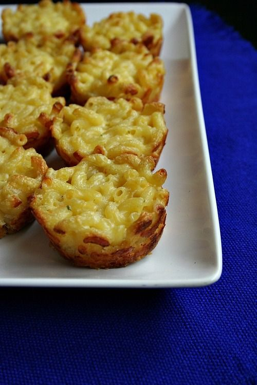 *Mac & Cheese Bites I made them in mini muffin tins (bake for 15-17 min) and topped 1/2 with crumbled bacon.  Great appetizer for adults and children alike!