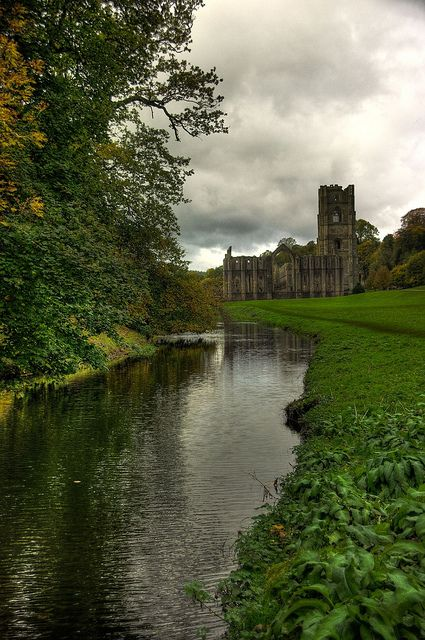 Fountains Abbey, Ripon in North Yorkshire, England; this looks so much like the stream outside New Battle Abbey in Edinburgh, Scotland