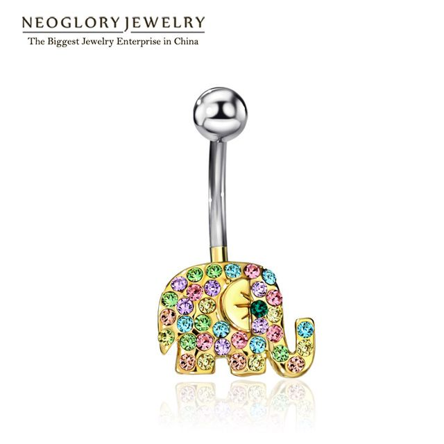 Neoglory Слон со стразами Для тела пирсинг пупка Кольца пупка для Для женщин Украшения для тела 2017 бренд
