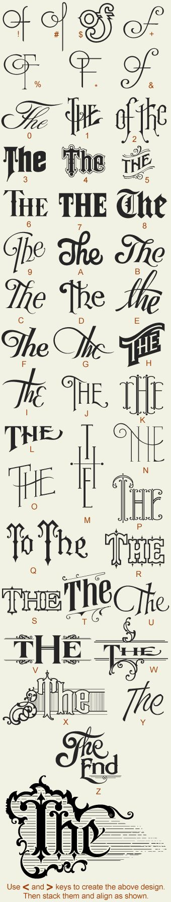 """LHF Noel's Thes by Noel Weber & Dave Parr Features 35 variations of the word """"The"""" (and a few """"of""""s thrown in for good measure). Each letter generates a different design. Download printable keyguide here.  Add To Cart $52.00"""