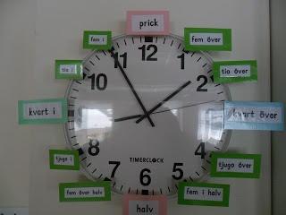 Idag i skolan: Lappar till klockan
