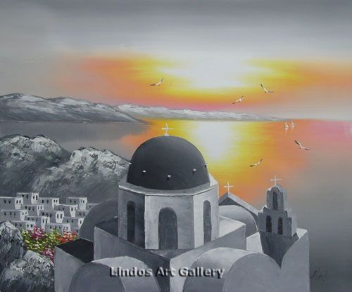 50x60 cm : Santorini Sunset Greek Church Painting