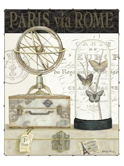 "Kathryn White Paris Via Rome 30"" x 40"" Hand Embellished Canvas"