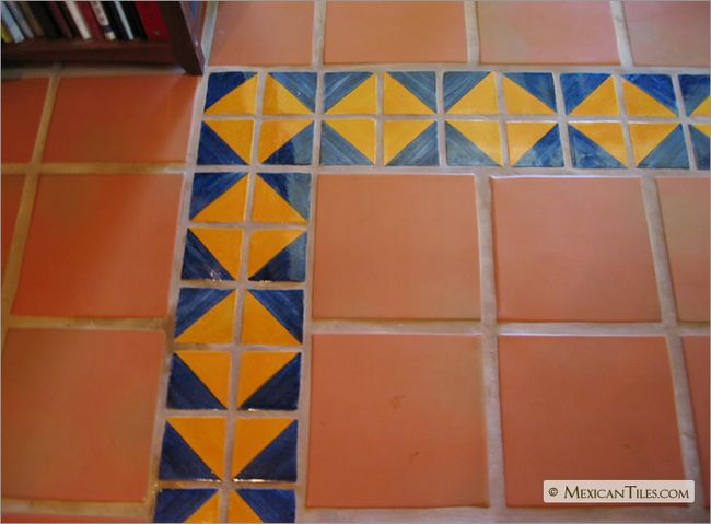 MexicanTiles.com - Floors with Blue and Yellow Harlequin Talavera Mexican Tile