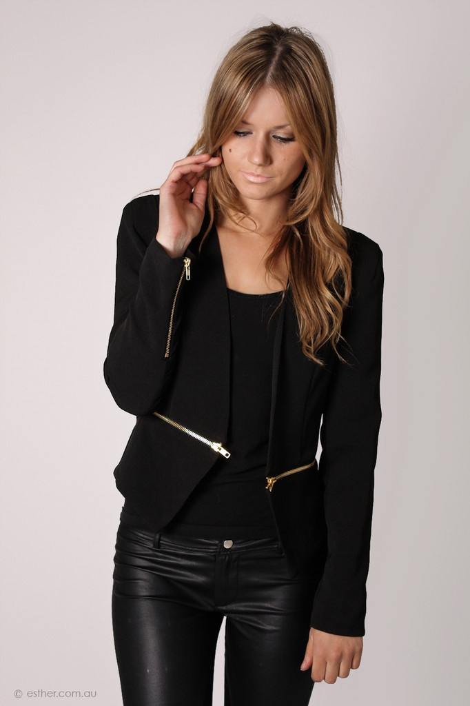 Esther Boutique - zipped up black blazer - with gold zip detail