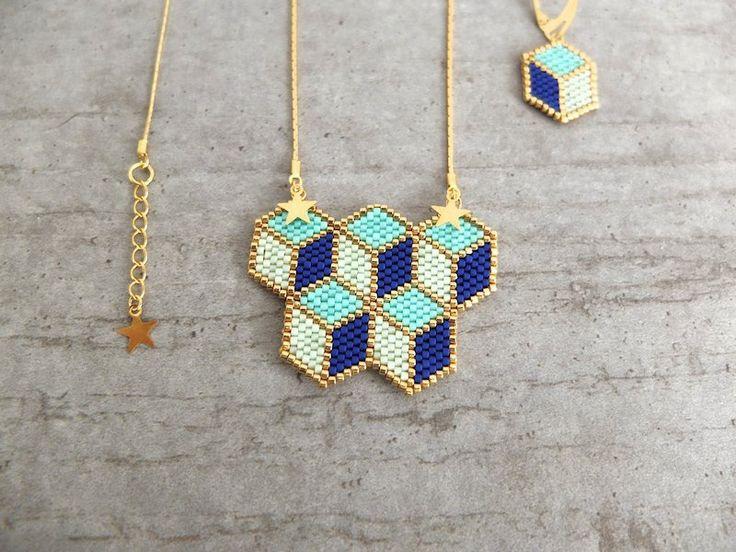 Sautoir ★cubes 3D ★ chaîne dorée à l'or fin 24K : Collier par my-french-touch