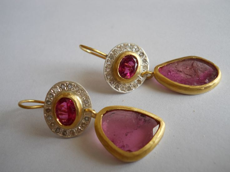 "Pamela Harari's earrings 22kt gold/fine silver tourmaline and diamonds - "" WE EMBRACE ART & DESIGN."" entrenous by LE NOEUD www.enbyln.com"