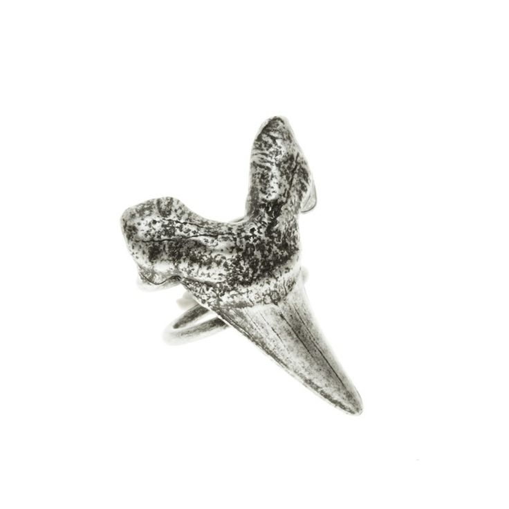 Large Shark Tooth ring - $75. Large statement ring comprising of two thin bands with a large distressed shark tooth feature detail, in a burnished antique silver finish. Lovingly created by Californian jewellery designer Luv AJ, and made in the USA. www.savethelastpinker.com.au/shop/large-shark-tooth-ring/