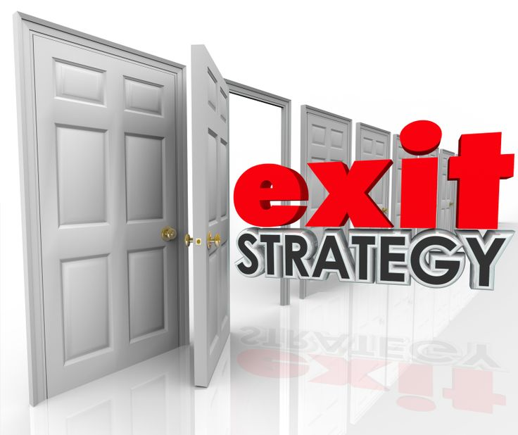 Exit Strategy 3d words going out an open door exiting, leaving, escaping or withdrawing from a company, partnership, agreement, contract or marriage