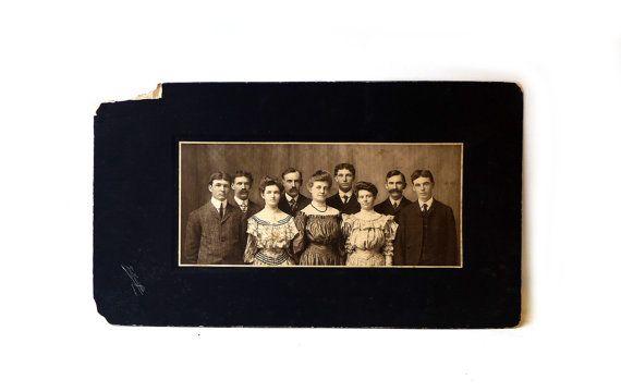 Antique 1900's sepia family studio portrait American by evaelena