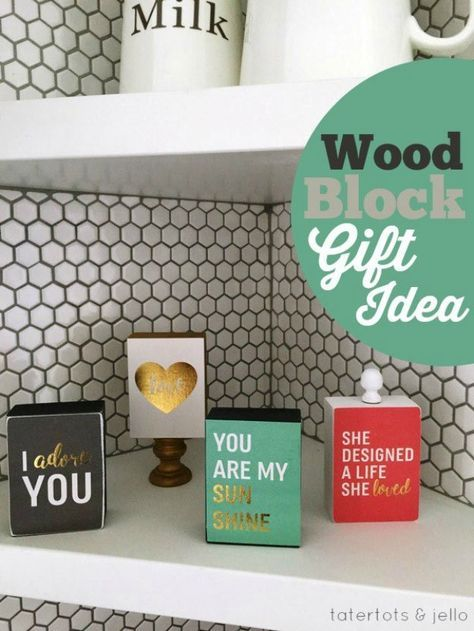 Wood Block Gift Idea   DIY Cricut Crafts & Ideas   Fun and Cute Projects for Kids and Adults by DIY Ready at http://diyready.com/diy-cricut-crafts/