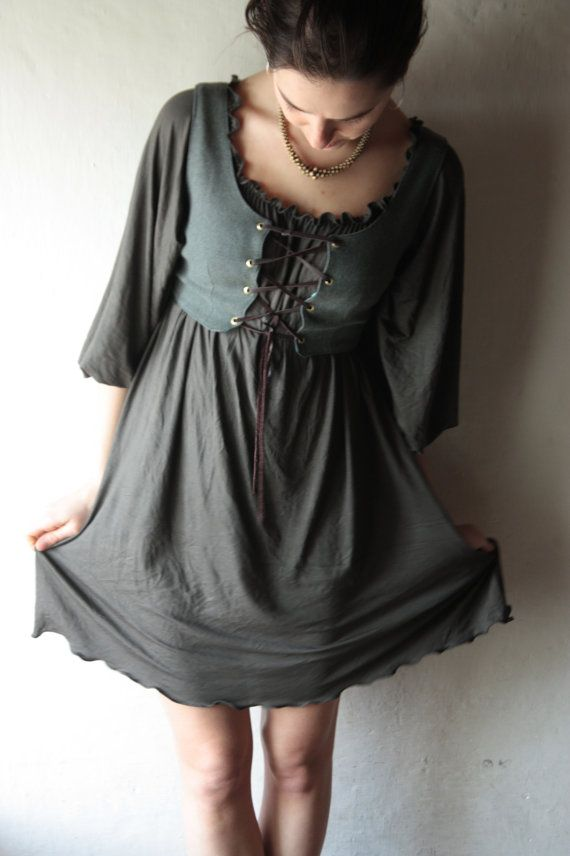 Tunic dress Medieval tunic Long sleeved dress Winter by larimeloom