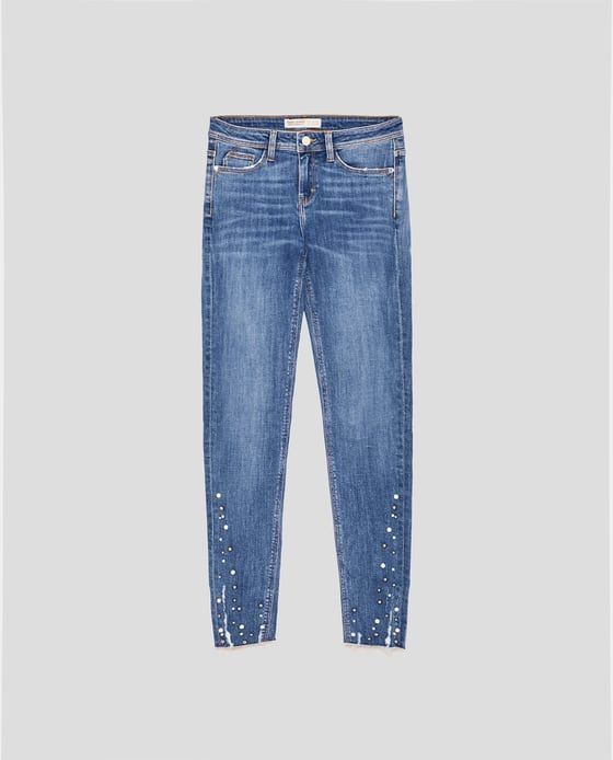 2421b8e53e2 Image 8 of SKINNY JEANS WITH PEARL BEADS from Zara | sewing + diy in ...
