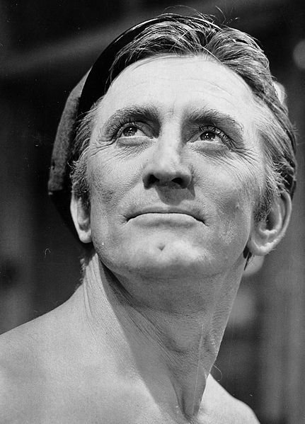 Photo of Kirk Douglas from his appearance in the Broadway production of One Flew Over the Cuckoo's Nest, 1963, public domain via Wikimedia Commons.
