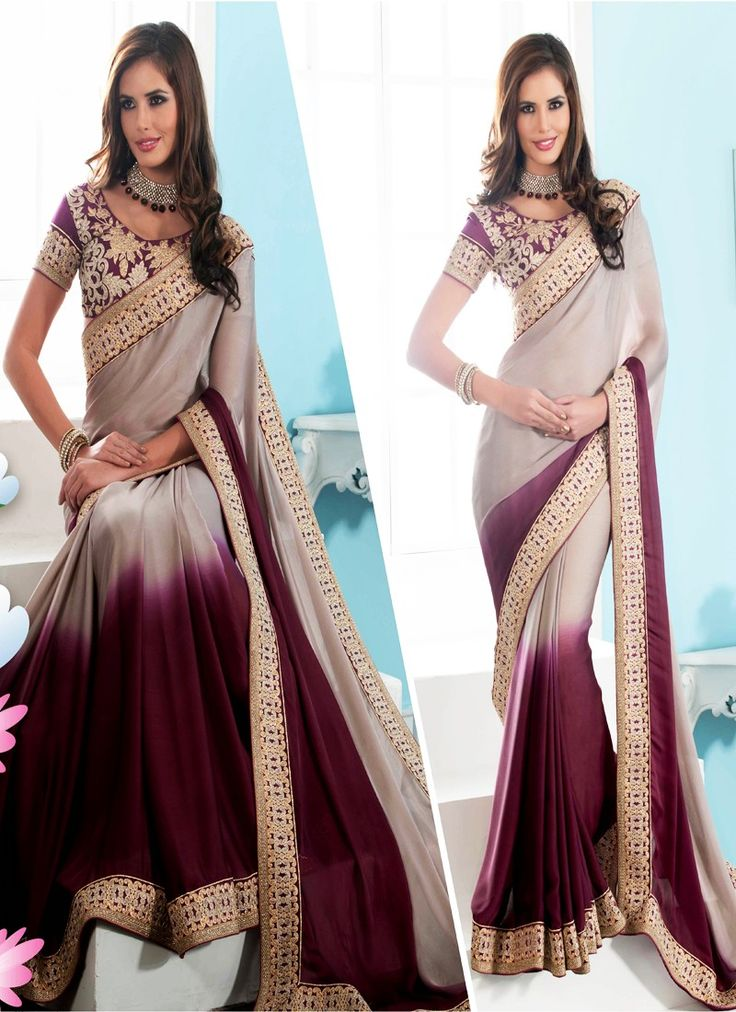 Violet Crepe Saree With Border Work