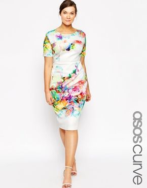 ASOS CURVE Placed Digital Floral Print Scuba Bodycon Dress
