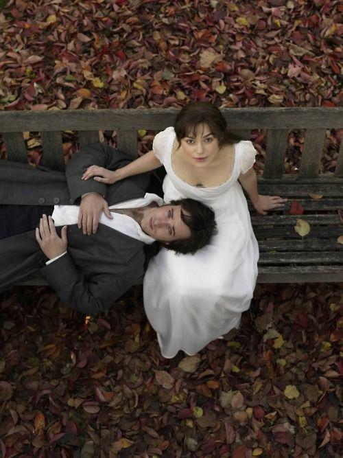Matthew MacFadyen as Fitzwilliam Darcy and Keira Knightley as Elizabeth Bennet in Pride and Prejudice (2005).