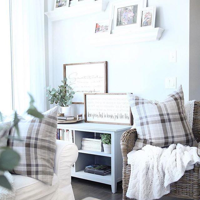 chalk paint bookshelf, open shelving, signs, vignette, pottery barn throw pillows, home décor, interior design, diy décor.