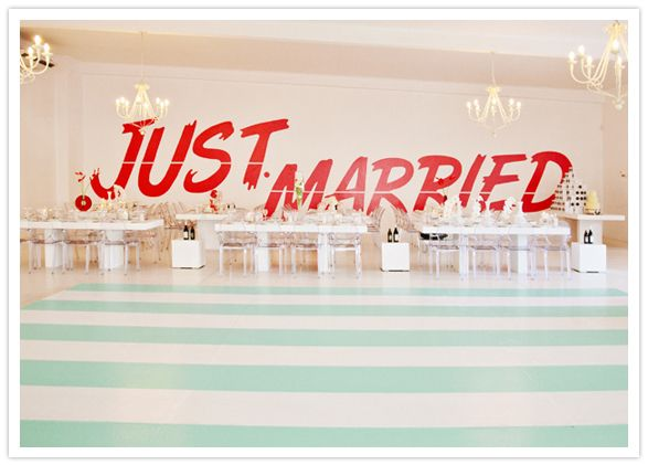 """just married"" wall decal and mint striped dance floor"