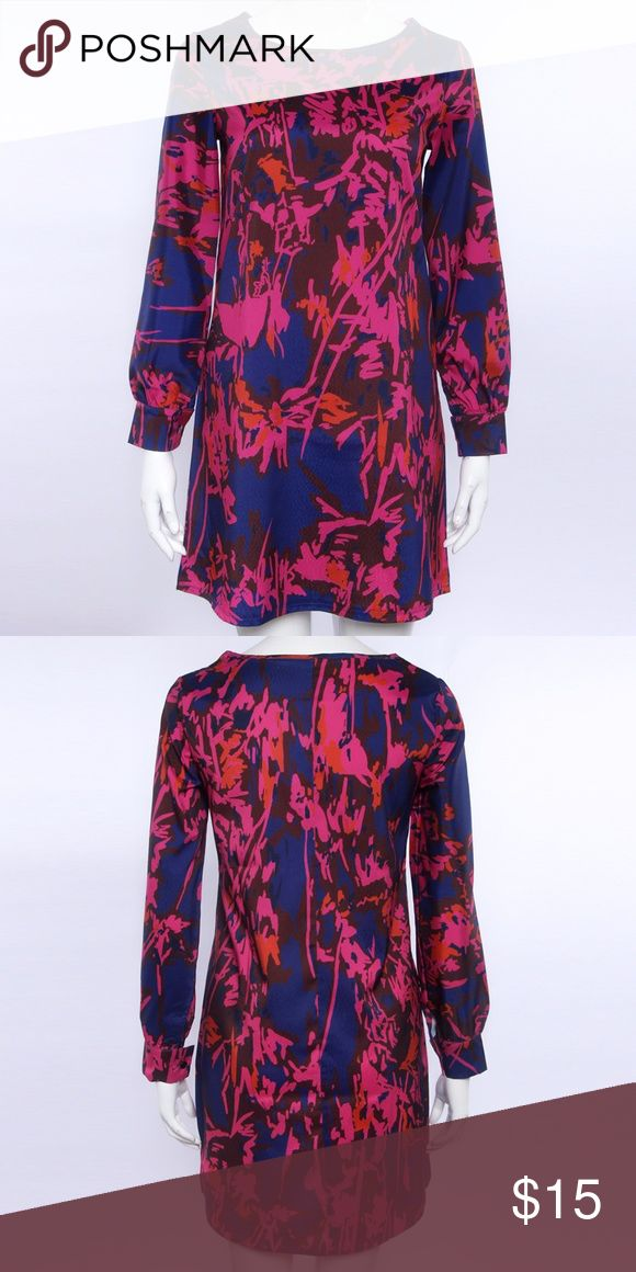 Purple And Blue Floral Mod Dress New without tags!  Loose and relaxed long sleeve dress with abstract floral print.  Scoop neck.  Size: Small Dresses Mini