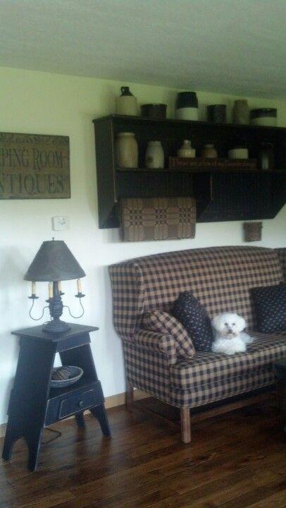 Black and creams. Primitive living room.