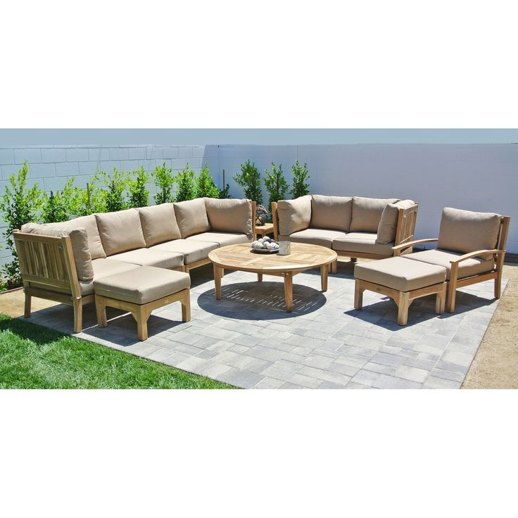 11pc Huntington Teak Outdoor Patio Furniture Deep Seating Set With 52 Chat  Table. (Rust), Red, Size 11 Piece Sets