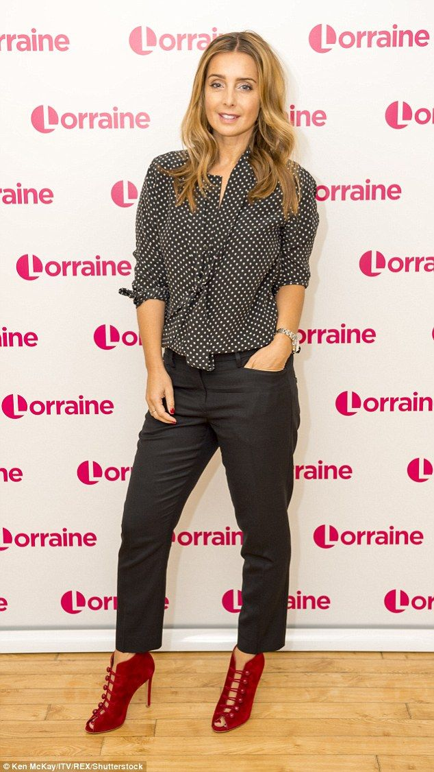 Simply stunning: The ex Eternal star looked gorgeous in a polka dot shirt and statement red heels for her TV appearance