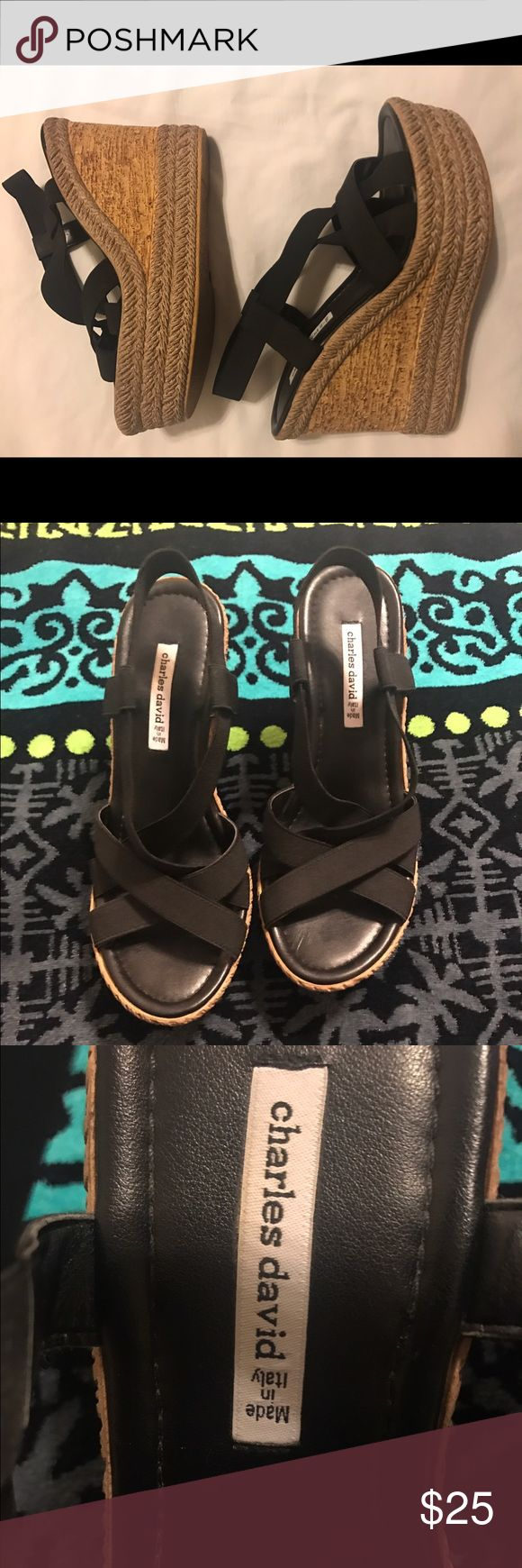 """EUC CHARLES by CHARLES DAVID Espadrille Wedges EUC CHARLES BY CHARLES DAVID Espadrille Wedge Sandals. Size 8.  5"""" Heel. NO WEAR shows on shoes or on the Wedge.. looks brand new! Charles David Shoes Wedges"""