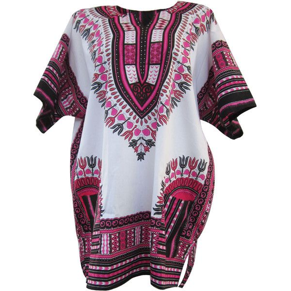 White African Dashiki, White Dashiki Shirt, Unisex Top Dress, Plus... ($22) ❤ liked on Polyvore featuring dresses, tops, dresses/rompers, shirts, tees, hippie dress, womens plus dresses, white hippie dress, plus size day dresses and white dress