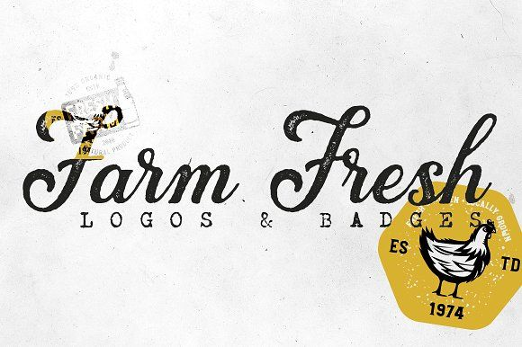 20 FARM FRESH Logos & Badges by Roman Paslavskiy on @creativemarket