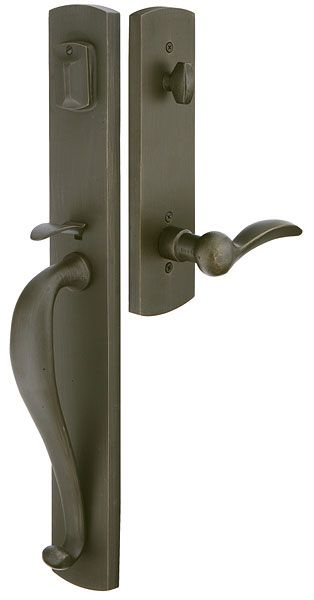 "Creston | Rustic | Tubular Entry Sets | Emtek Products, Inc. - For front door in ""flat black"""
