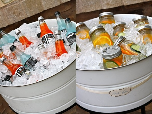 Looks way more classy than a cooler! Could have one for adults (soda) and one for kids (juice, water, milk)