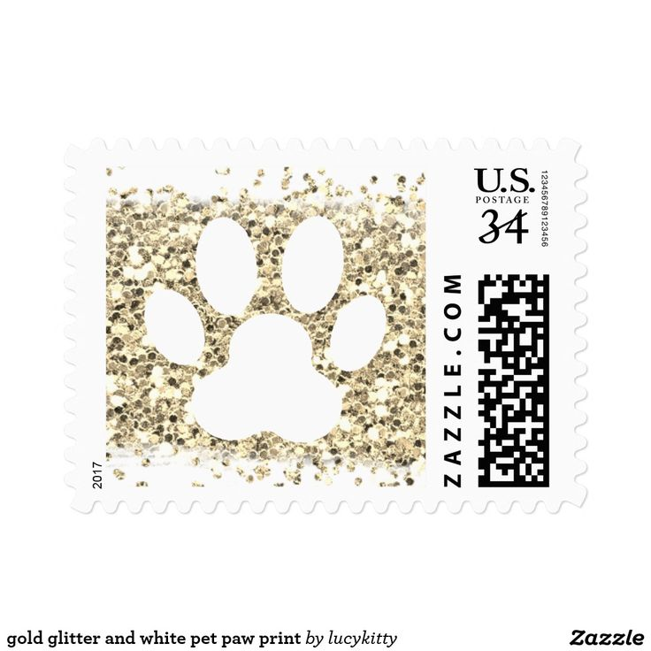 gold glitter and white pet paw print postage
