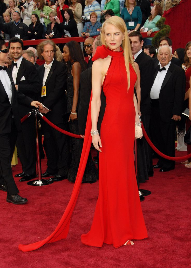 Nicole Kidman at the 2007 Academy Awards. The actress wore a red gown by Balenciaga's former designer Nicolas Ghesquière on the red carpet.