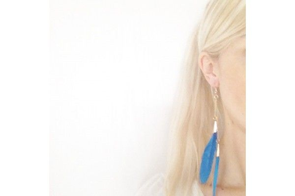Boucles d'oreilles plumes Folk bijoux en plumes bleus - blue feather earrings jewellery