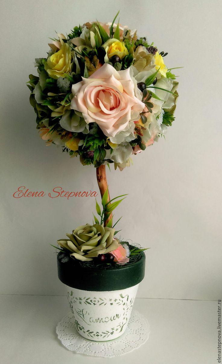 """Купить Топиарий """"Lamour"""", дерево счастья - комбинированный, топиарий, топиарий дерево счастья"""