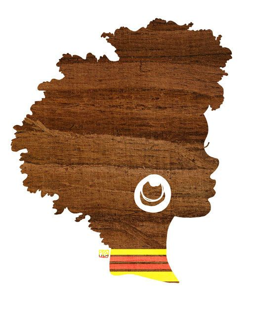 Sunny Silhouette,  Fall Inspired, Brown Woodland Natural Hair African American Woman, Silhouette Art Print (5x7, 8x10, 11x14)