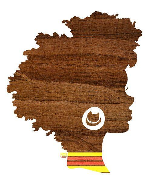 Sagoma soleggiata, caduta ispirato, capelli castani naturali del terreno boscoso donna afro-americana, Silhouette Stampa artistica (5x7, 8x10, 11 x 14)