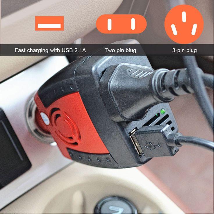 BRIDNA 150w Cigarette Lighter car charger converter dc 12v to ac 110v 60hz 220v 50hz car power inverter adapter with USB port *** Nazhmite na izobrazheniye, chtoby rassmotret' bol'she detaley.