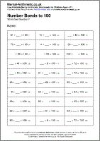 Number Bonds to 100 Worksheet - Free printable PDF maths worksheets from Mental Arithmetic