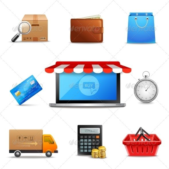 Realistic Online Shopping Icons  #graphicriver