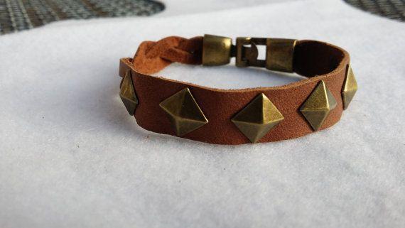 Bronze Pyramid Studded Braided Leather Cuff by TheSkimDotNet