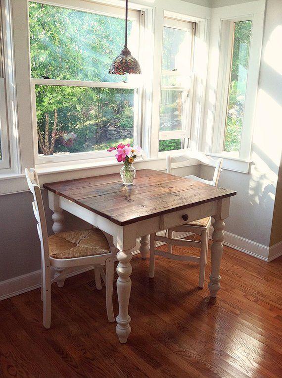 The Petite Farmhouse Table Handmade With Reclaimed Barn Wood With Optional Drawer Farmhouse Kitchen Tables Farmhouse Dining Small Kitchen Tables