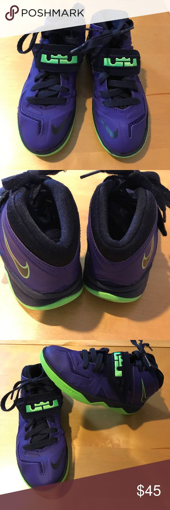 Kids sneakers Kids gently worn Nike Lebron sneakers. These are is good shape. There is wear and marks around the shoes from being worn. However, they almost look new. Soles and insoles may need to be cleaned to your liking. Nike Shoes Sneakers