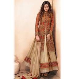Buy Beige embroidered Satin Georgette semi_stitched salwar with dupatta party-wear-salwar-kameez online